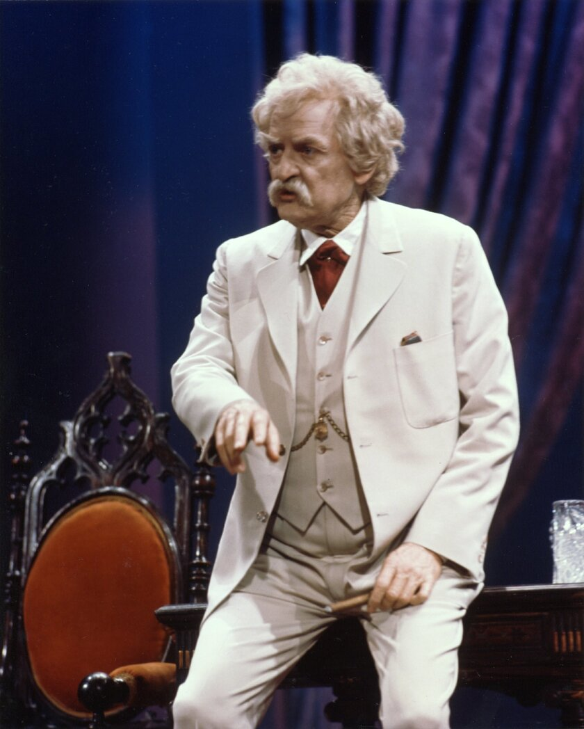 "This image provided by Hal Holbrook shows Holbrook performing his one-man show ""Mark Twain Tonight."" Holbrook is in the midst of a marathon of theater. 2014 marks the 60th consecutive year of his one-man show relating the satire and social commentary that he began delivering during the civil rights"