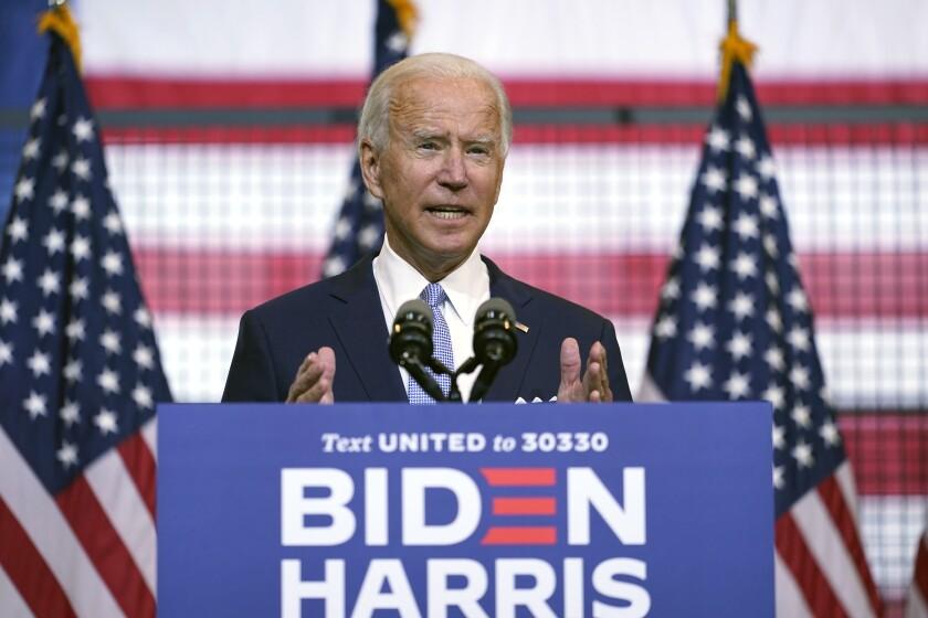 Democratic presidential nominee Joe Biden speaks in Pittsburgh on Monday