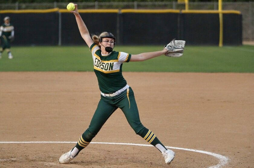 Edison High's Jenna Bloom pitches for the Green team during the fifth inning in the Orange County Al