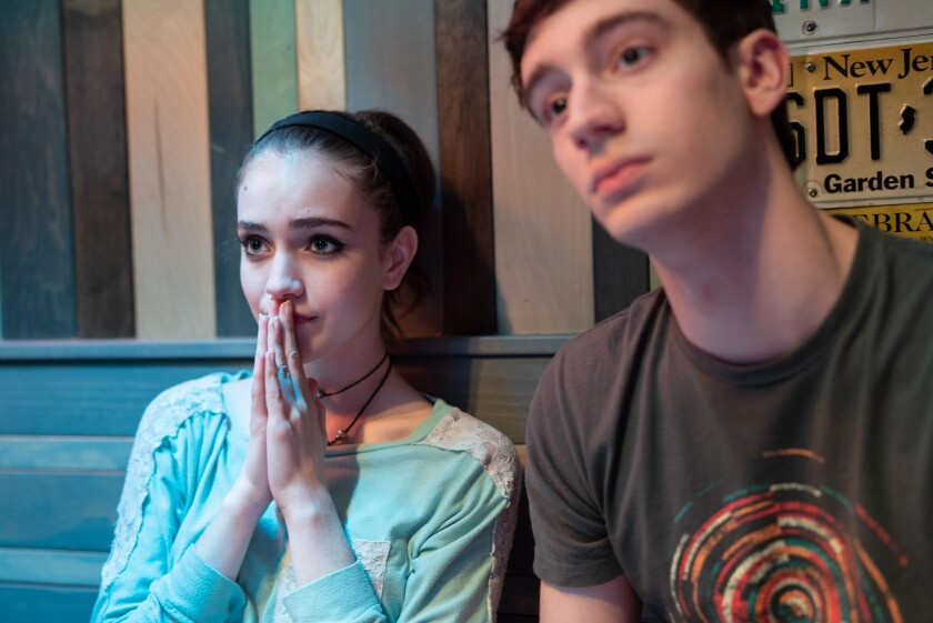 "Talia Ryder and Théodore Pellerin in the movie ""Never Rarely Sometimes Always."""
