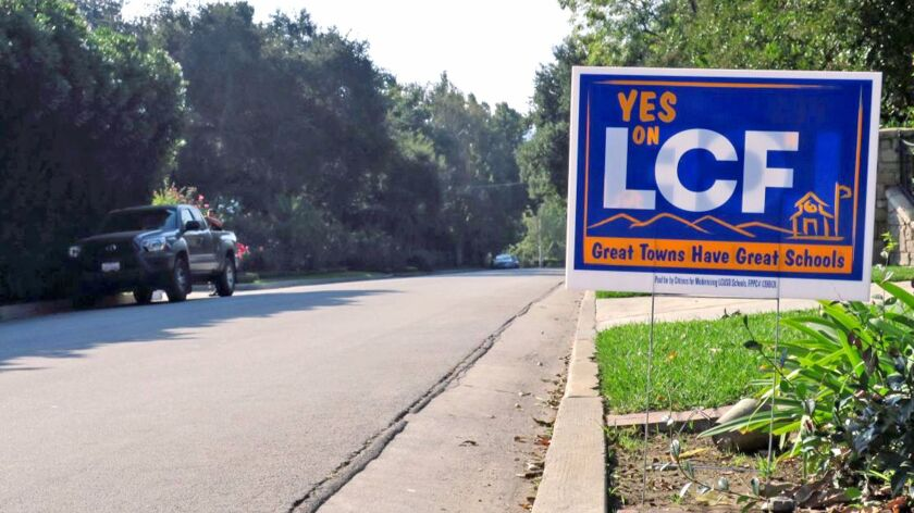 A campaign sign for Measure LCF, a $149 million bond to renovate and rebuild La Cañada Unified schools.