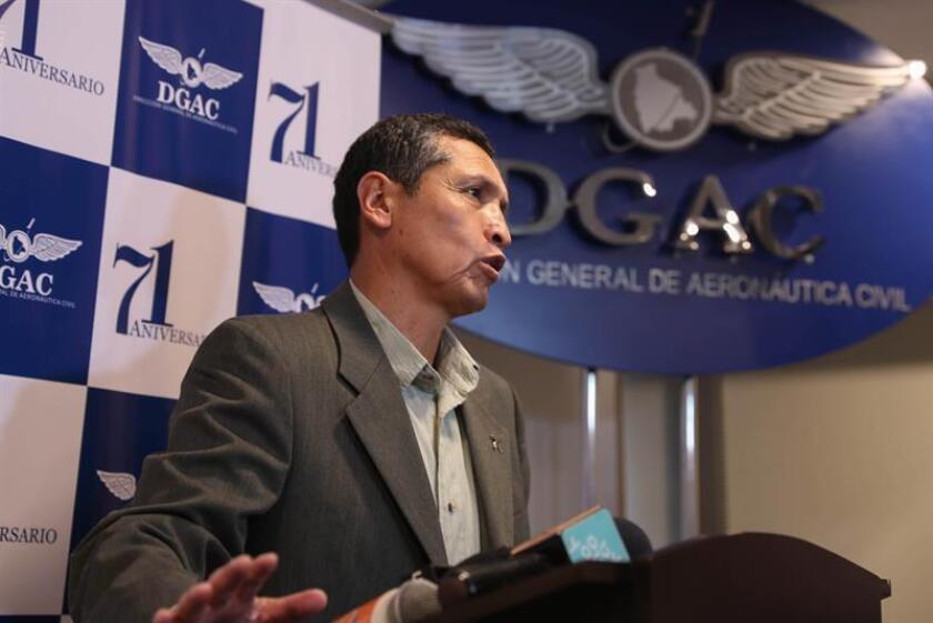 Director of Bolivia's Civil Aeronautic General Office Celier Aparicio Arispe takes part in a press conference, in La Paz, Bolivia, 22 November 2018. EPA- EFE/ Martin Alipaz