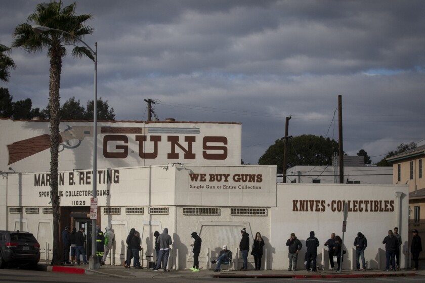 People line up at Martin B. Retting gun store in Culver City