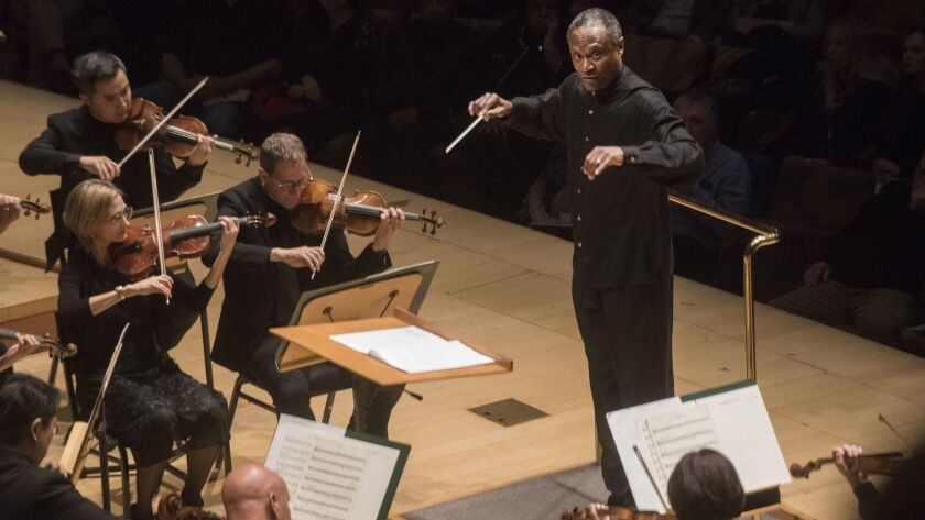 Thomas Wilkins conducts William Grant Still's Symphony No. 4 as part of the Los Angeles Philharmonic's tribute to the Harlem Renaissance at Walt Disney Concert Hall on Sunday afternoon.