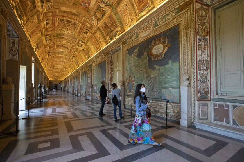 Visitors in the Gallery of Maps at the Vatican Museum