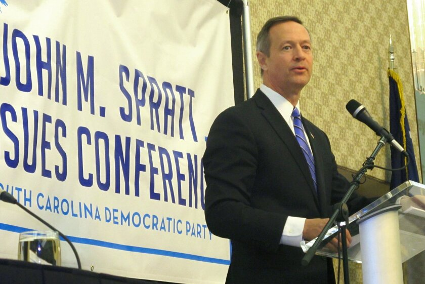 Former Maryland Gov. Martin O'Malley addresses a conference hosted by the South Carolina Democratic Party in Myrtle Beach, S.C. on Saturday, Feb. 28, 2014. O'Malley told reporters later he is seriously considering running for the Democratic presidential nomination and will make a decision this spring on whether to enter the race. (AP Photo/Bruce Smith)