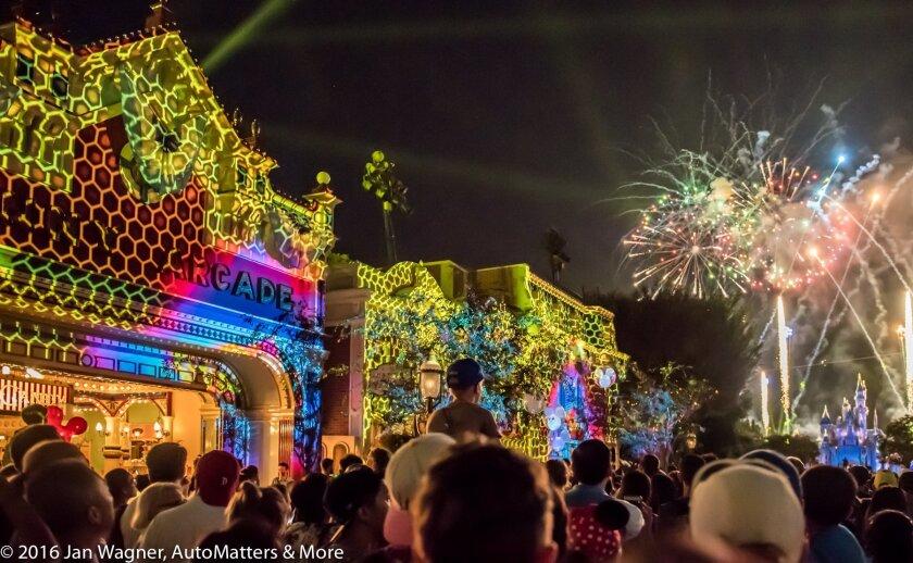 """Disneyland Forever"" fireworks & light projections on Main Street, USA"