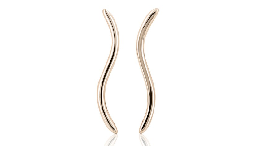Stud earrings in a wave shape from MiaDonna, a company which makes lab-grown diamonds. $139. miadonn