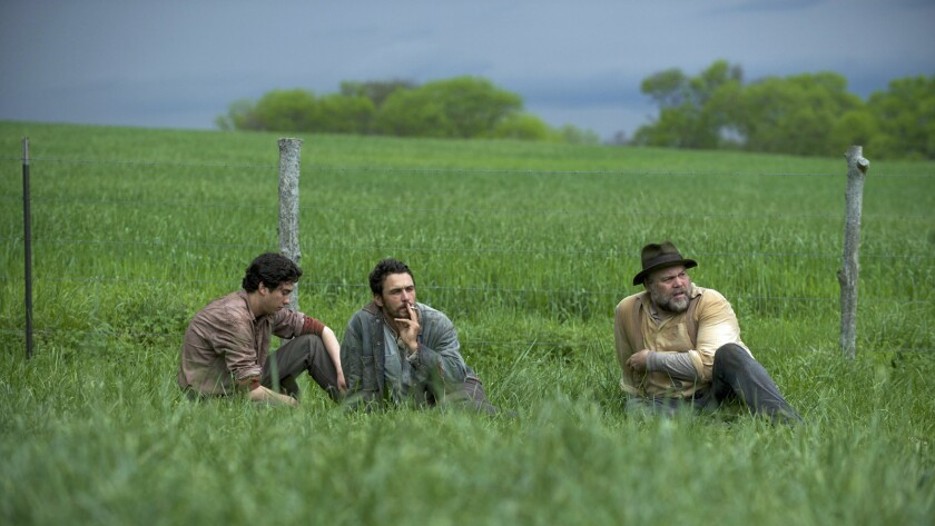 """Nat Wolff, James Franco and Vincent D'Onofrio in the movie """"In Dubious Battle."""""""