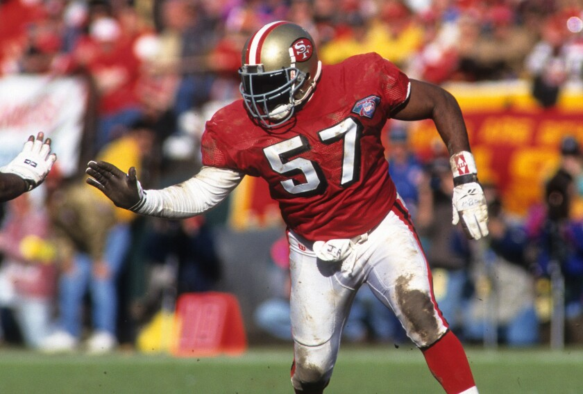 San Francisco 49ers linebacker Rickey Jackson during a playoff game against the Dallas Cowboys in January 1995.