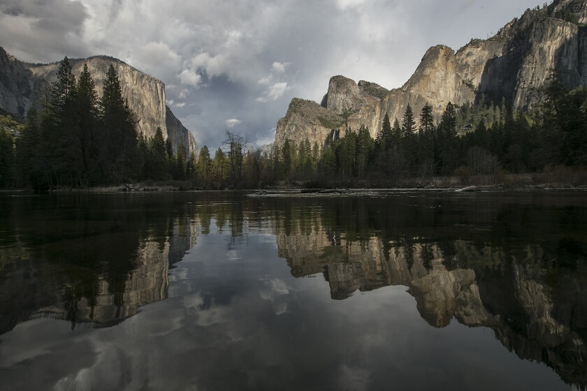 Valley View is usually snow covered this time of year. Park officials expect Yosemite Valley's waterfalls to go dry during the height of the summer tourist season.