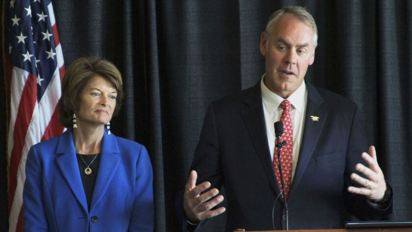 Interior Secretary Ryan Zinke with Alaska Sen. Lisa Murkowski at a news conference in Anchorage on M