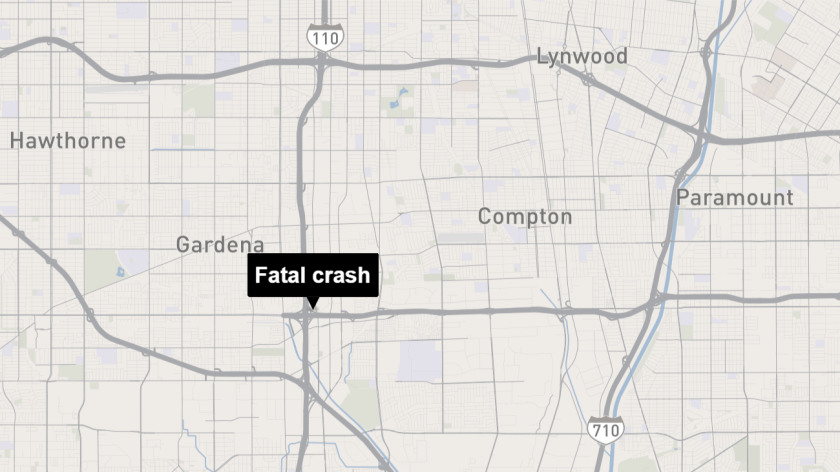 The crash occurred about 3:30 a.m. at the northbound 110 offramp to the westbound 91 Freeway in Gardena.