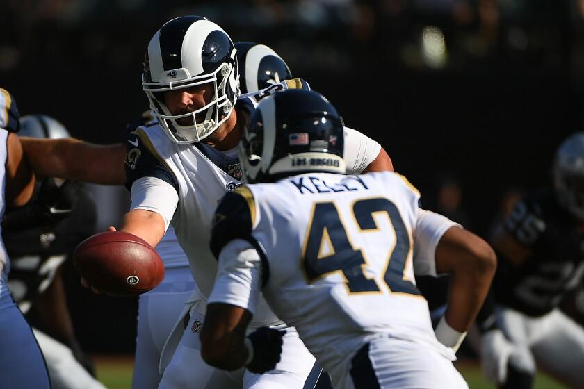 Rams quarterback Blake Bortles looks to pass Saturday night.