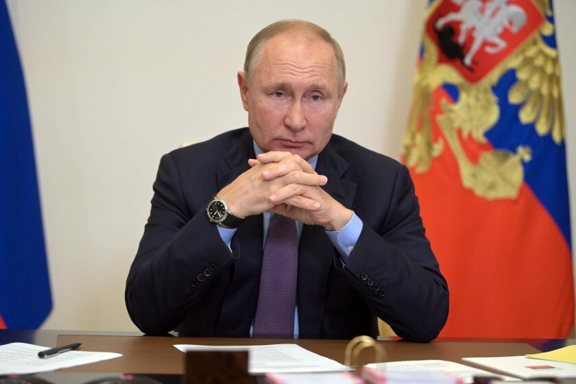 In this Thursday, Sept. 9, 2021 file photo, Russian President Vladimir Putin speaks during a meeting in Moscow, Russia.