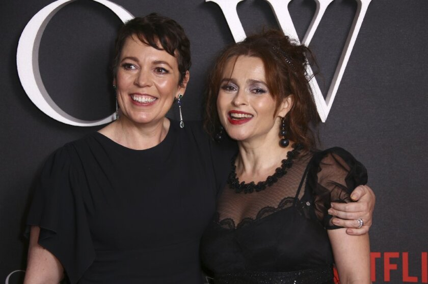 "Olivia Colman and Helena Bonham Carter at the London premiere of ""The Crown."""