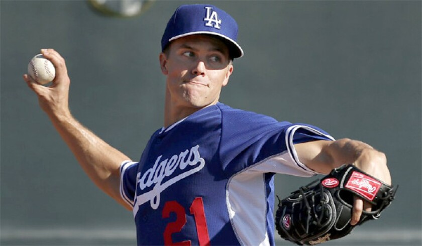 While most of his teammates were traveling to Australia for the Dodgers' season opener against the Arizona Diamondbacks, pitcher Zack Greinke allowed just one hit over four innings Monday against a Class A Padres team in Arizona.