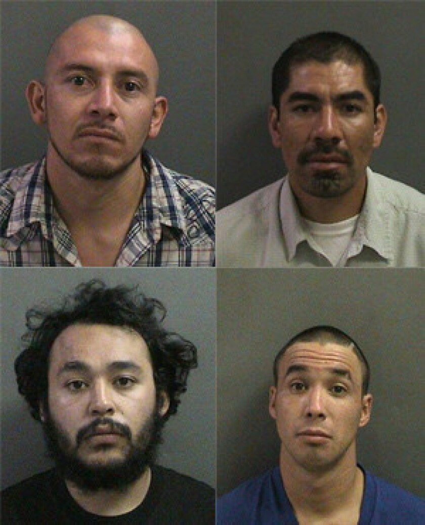 Clockwise from top left, Edwin Yhuit, Daniel Garcia, Oscar Iglesias and Daniel Godinez, who were all arrested for allegedly stealing a $10 sandwich from a car.