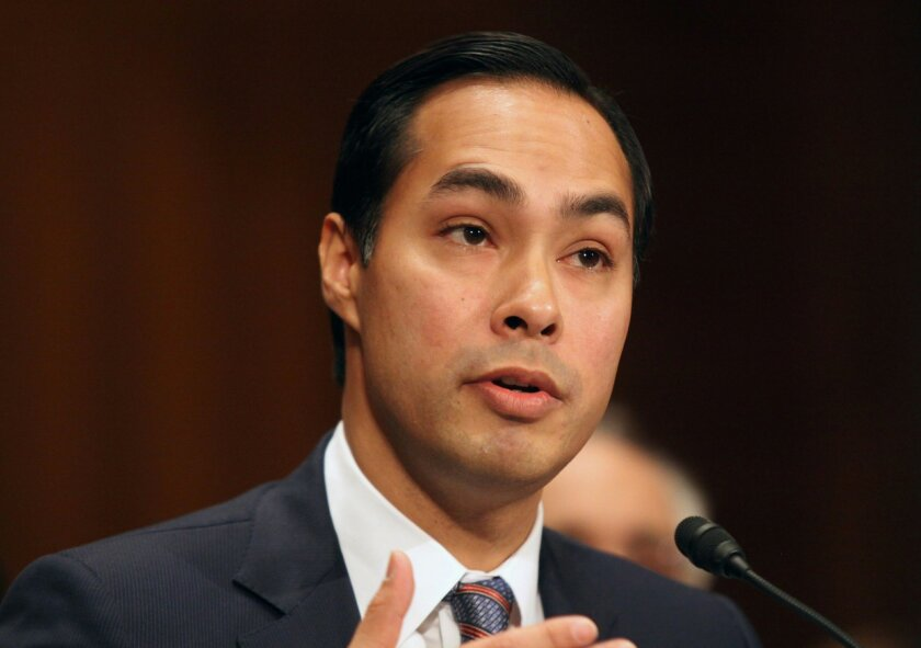 FILE - This June 17, 2014 file photo shows Housing and Urban Development Secretary nominee, San Antonio, Texas Mayor Julian Castro testifying on Capitol Hill in Washington. The Senate has easily confirmed San Antonio Mayor Julian Castro to head the Department of Housing and Urban Development. Wednesday's 71-26 vote makes the 39-year-old Castro one of the highest-ranking Hispanics in government. (AP Photo/Lauren Victoria Burke, File)