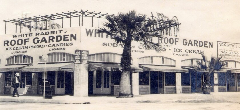 The White Rabbit Roof Garden on Girard Avenue at Prospect Street was one of La Jolla's early commercial enterprises.
