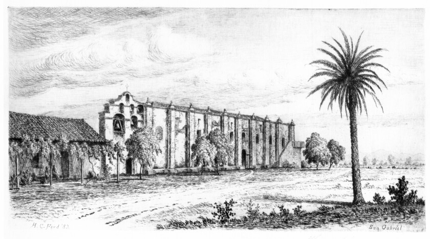 "Henry Chapman Ford, ""Mission San Gabriel,"" 1883, etching and drypoint."
