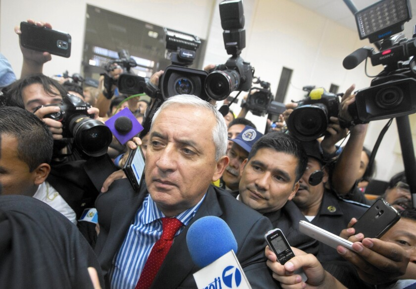 Guatemala's President Otto Perez Molina arrives in court to face corruption charges, after submitting his resignation in Guatemala City on Sept. 3, 2015.