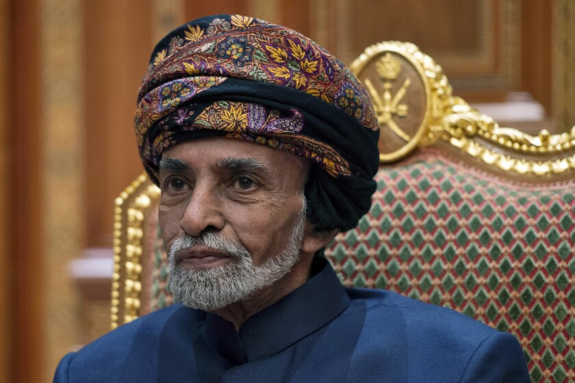 "FILE - In this Jan. 14, 2019 file photo, Sultan Qaboos bin Said of Oman sits during a meeting with Secretary of State Mike Pompeo at the Beit Al Baraka Royal Palace in Muscat, Oman. Oman's 79-year-old ruler Sultan Qaboos bin Said is in ""stable condition"" and is following a doctor-prescribed medical treatment, the nation's royal court announced Tuesday, Dec. 31, 2019, amid days of worried speculation about his health. (Andrew Caballero-Reynolds/Pool Photo via AP, File)"