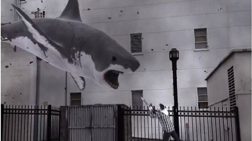 "A scene from Syfy's ""Sharknado."""
