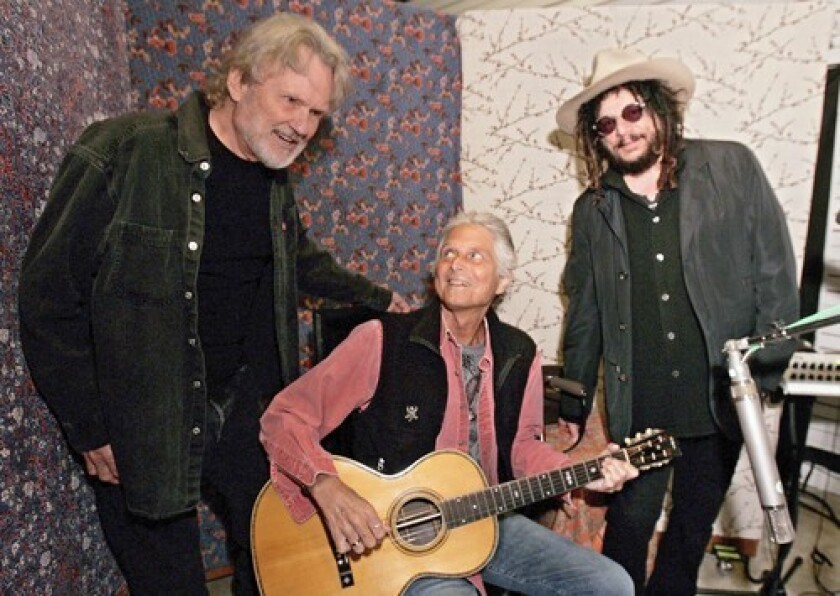 Kris Kristofferson, left, Stephen Bruton and producer Don Was work on Kristofferson's new album in March at the Village Studio in West L.A. Bruton joined Kristofferson's band shortly after graduating from college.
