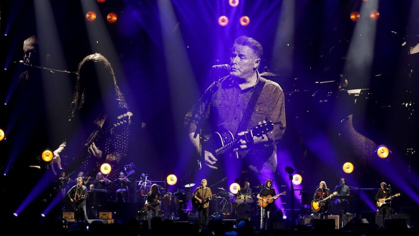 INGLEWOOD, CALIF.. - SEP. 12, 2018. Don Henley is projected on a stage screen as the Eagles perform