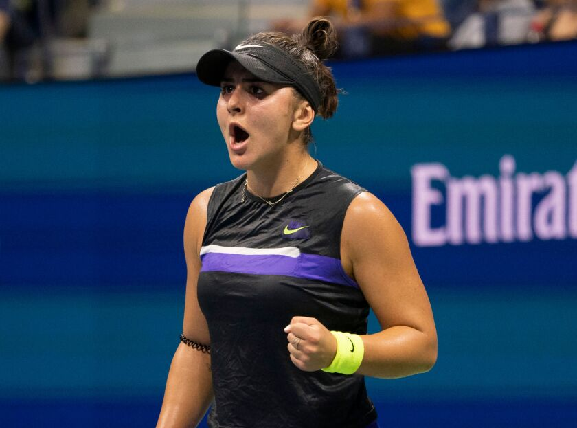Bianca Andreescu celebrates a point against Elise Mertens during their U.S. Open quarterfinal match in New York on Wednesday.