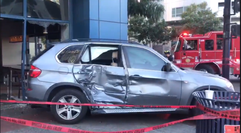 An SUV plowed into a Starbucks Coffee shop Wednesday evening in downtown San Diego's East Village.