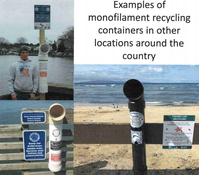Fishing line collection containers proposed for the Balboa Pier would be made of PVC pipe, as shown in these examples.