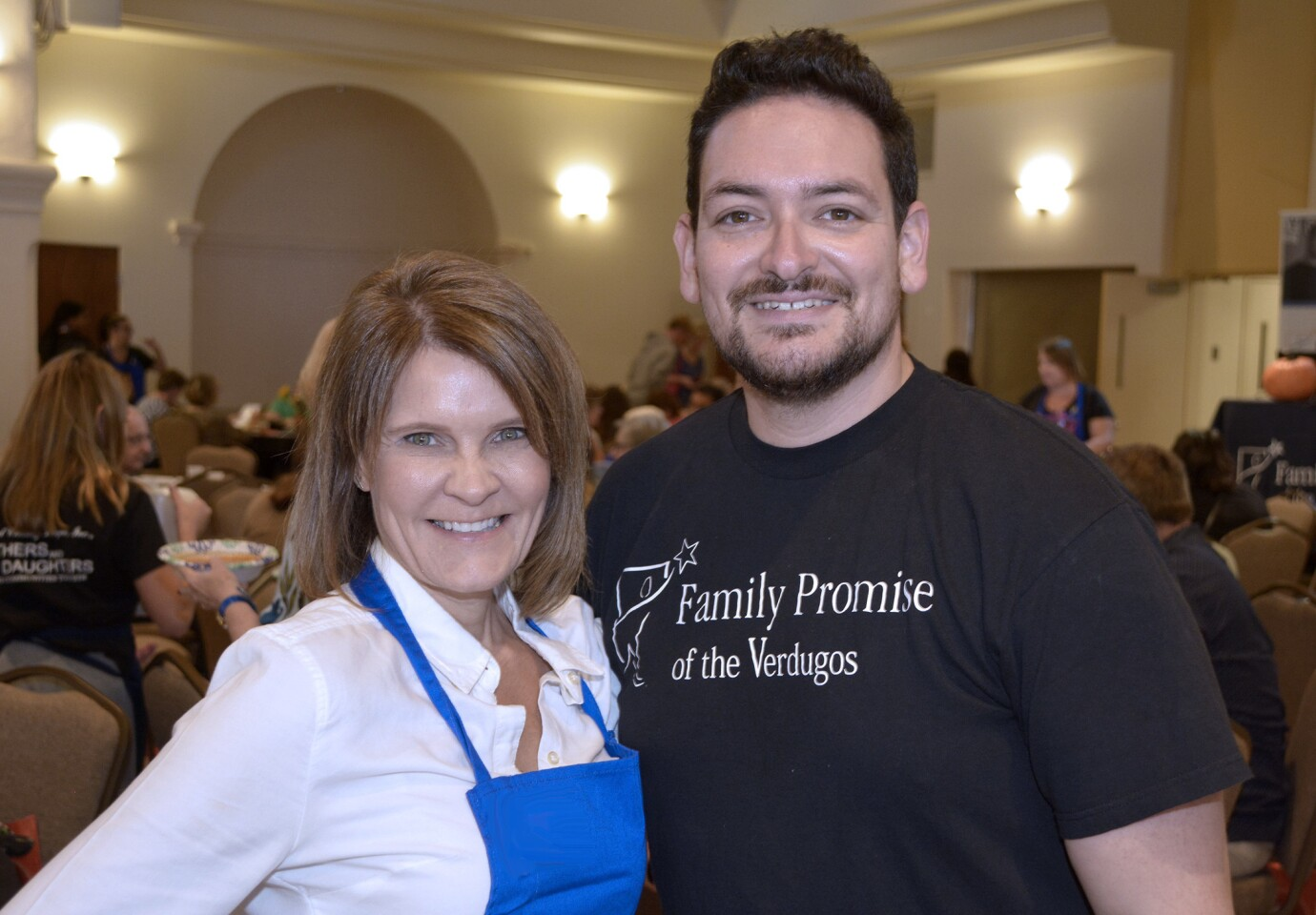 Family Promise of the Verdugos supporters were welcomed to this year's Empty Bowl fundraiser by Albert Hernandez and Jane Winter.