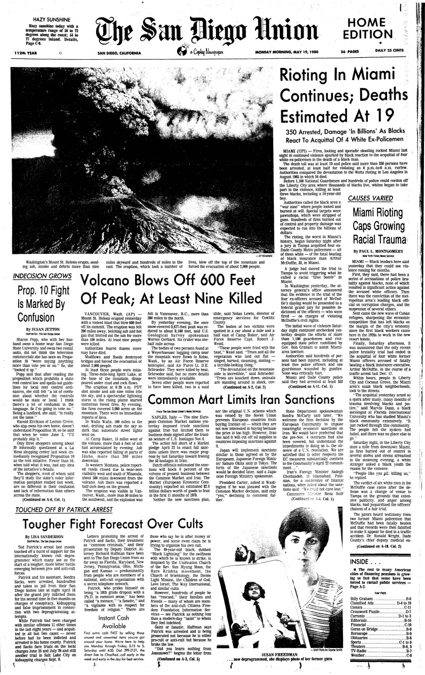 Front page of The San Diego Union May 19, 1980 with an aerial photo of the Mount St. Helen's volcano eruption.