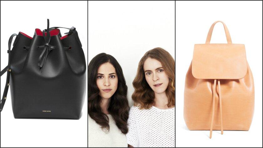 From left, Mansur Gavriel bucket bag, Floriana Gavriel, Rachel Mansur and a backpack from the label.