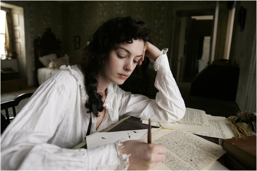"""Anne Hathaway portrays writer Jane Austen in the 2007 film """"Becoming Jane.""""A new app by the Jane Austen Centre in Bath, England, delivers Austen quotes to your mobile device daily."""