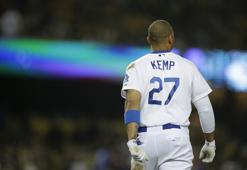 Matt Kemp got the start in left field Wednesday in place of the injured Carl Crawford but went 0 for 4 at the plate with two strike outs.