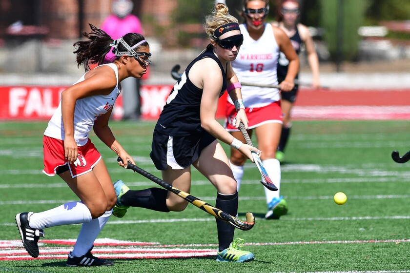 TextEditor Torrey Pines High School junior Kristin Bitter scored twice in the Lady Falcon field hockey team's 9-0 blanking of Fallbrook on Sept. 11. The victory set off a six-game win streak for the Lady Falcons in which they only allowed one point scored by opposing teams.