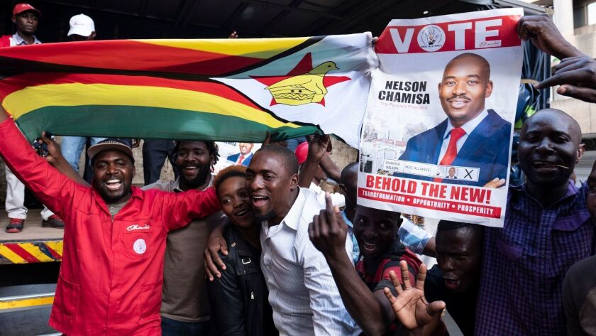 Supporters of Nelson Chamisa and the Movement for Democratic Change Alliance claimed victory Tuesday in Harare.