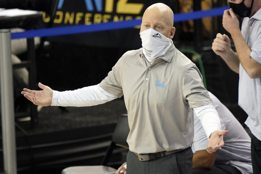 UCLA head coach Mick Cronin argues a call during the second half against Colorado.