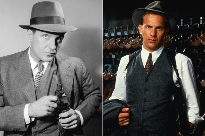 """Robert Stack, left, played Eliot Ness from 1959 to 1963 in TV's """"The Untouchables."""" And Kevin Costner played the legendary crime fighter in the 1987 film of the same name."""