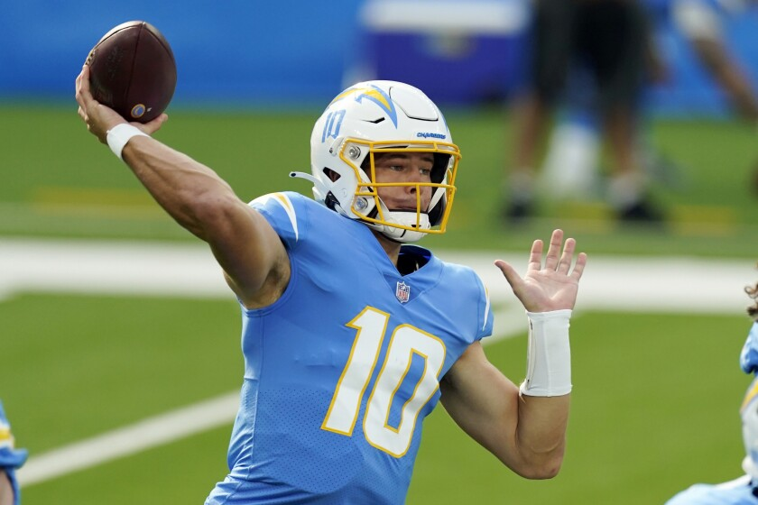 Chargers quarterback Justin Herbert throws a pass against the Jets during their game Nov. 22, 2020, at SoFi Stadium.