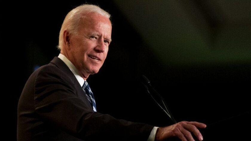 Former Vice President Joe Biden speaks to the International Assn. of Firefighters at the Hyatt Regency on Capitol Hill in Washington on March 12.