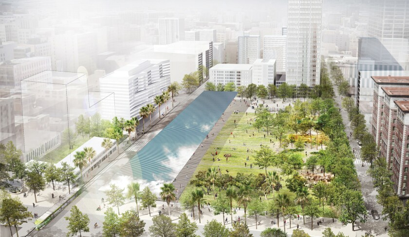 A rendering by the French landscape firm Agence Ter re-imagines Pershing Square with its walls removed, directly open to the streets and sidewalks on all sides.