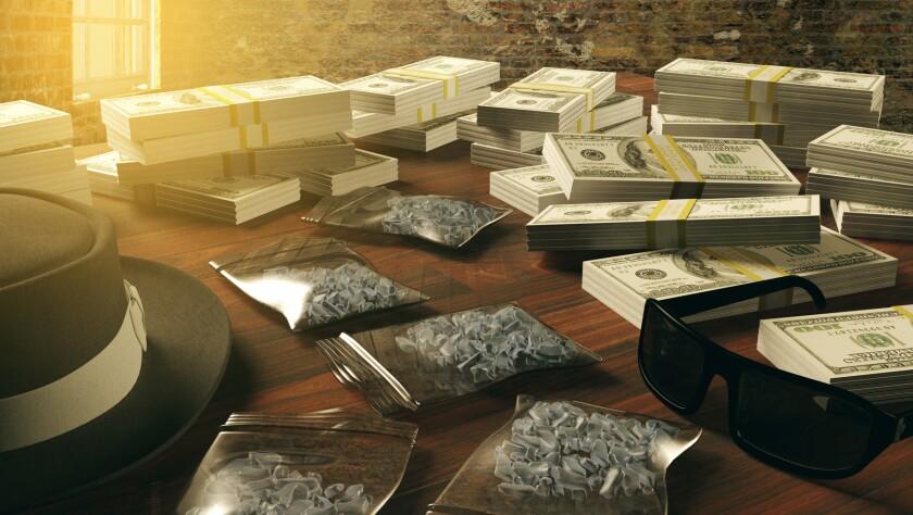 Illegal business drugs and dollars, Mafia drug dealer, 3D render