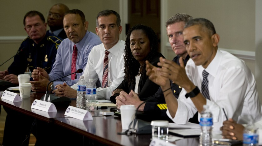 Los Angeles Mayor Eric Garcetti, center, attends meeting with President Obama on Wednesday.