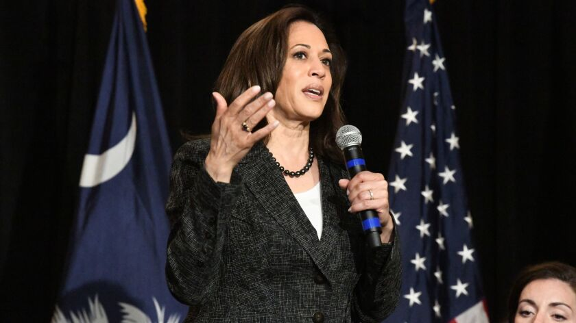 California Sen. Kamala Harris speaks ahead of round table discussion with teachers in Columbia, Sout