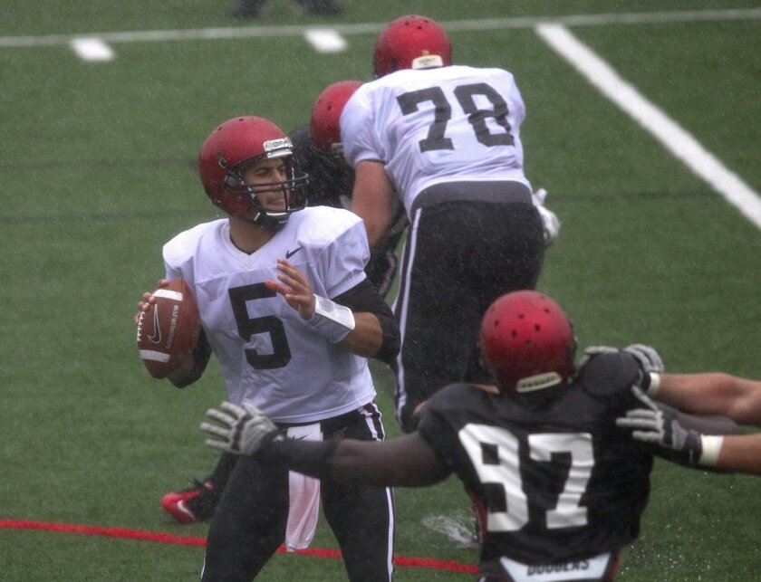 SDSU defensive end Dontrell Onuoha (97), seen here chasing quarterback Ryan Katz (5) in the spring game March 17.