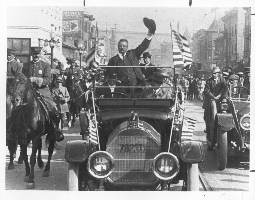 Teddy Roosevelt on the 1912 campaign trail in Los Angeles.